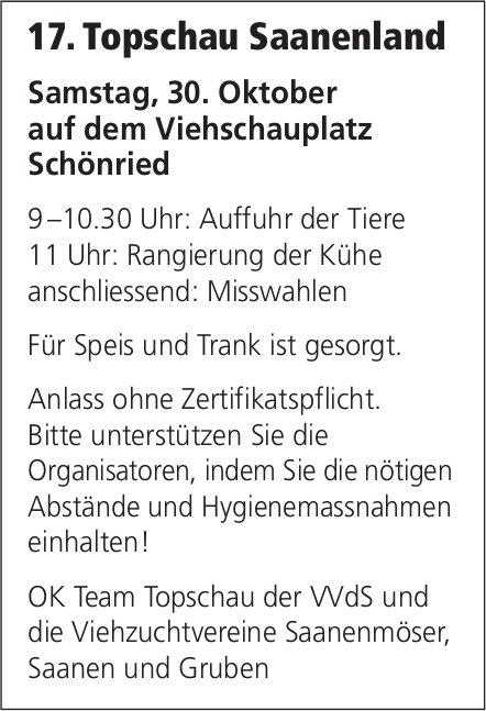 17. Topschau Saanenland, 30. Oktober, Viehschauplatz, Schönried