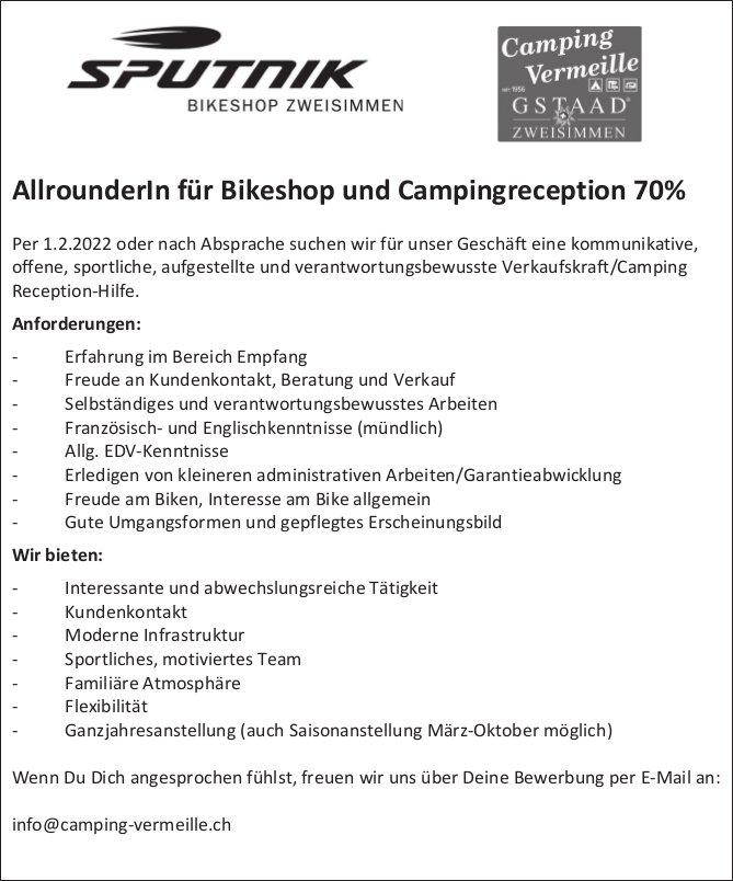 AllrounderIn für Bikeshop und Campingreception 70%, Sputnik Bikeshop, Zweisimmen, gesucht