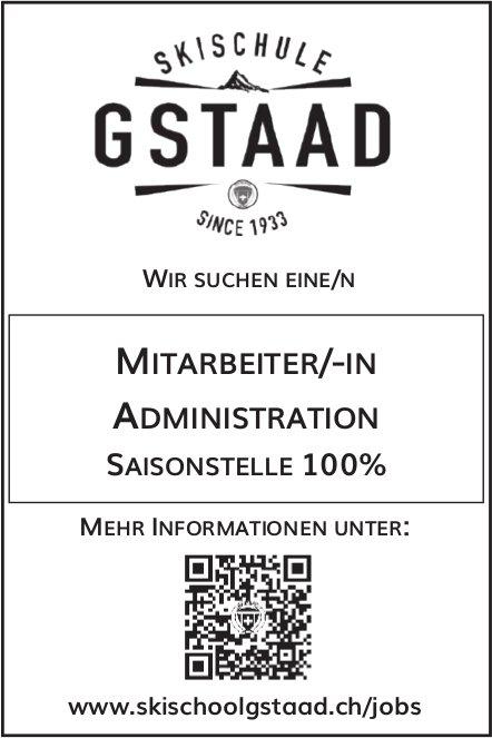 Mitarbeiter/-In Administration 100%, Skischule, Gstaad, gesucht