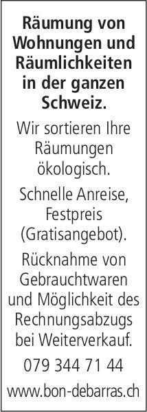 Bon Debarras - Räumung von Wohnungen und Räumlichkeiten in der ganzen Schweiz.