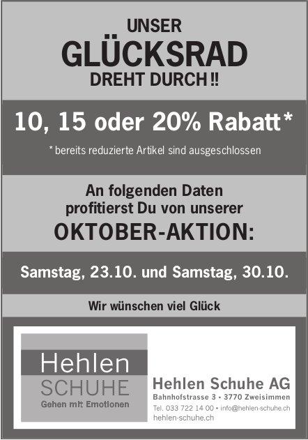 Unser Glücksrad dreht durch !! 10 - 20% Rabatt, 23. + 30. Oktober, Hehlen Schuhe AG, Zweisimmen