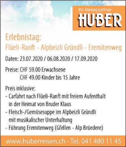 Erlebnistag: Flüeli-Ranft - Alpbeizli Gründli - Eremitenweg, 23. Juli, 6. August, 17. September