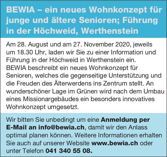Führung in der Höchweid, 28. August & 27. November, BEWIA, Werthenstein