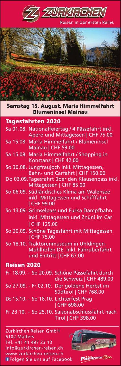 Reiseprogramm, 1. August - 25. Oktober, Zurkirchen Reisen GmbH, Malters