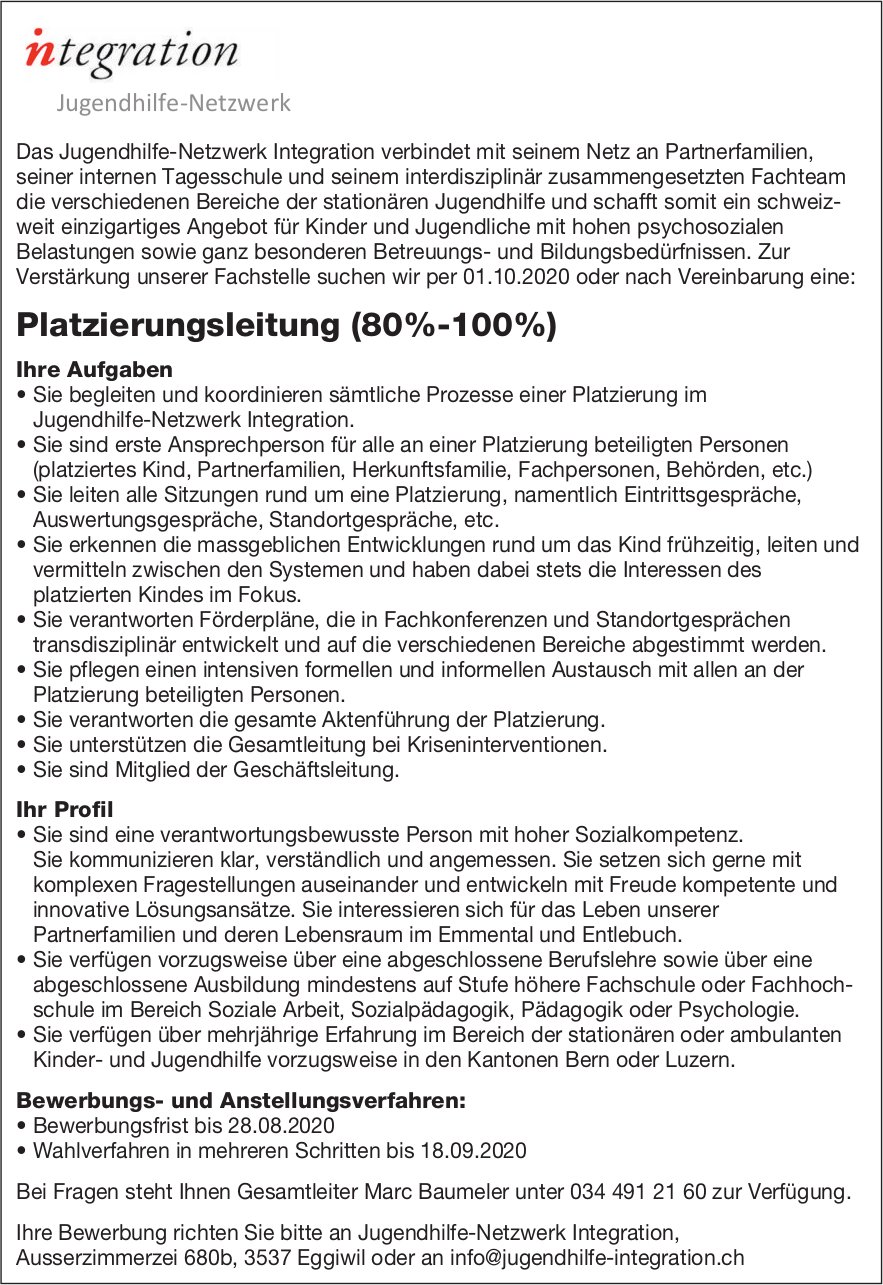 Platzierungsleitung, Integration Jugendhilfe-Netzwerk, Eggiwil, gesucht