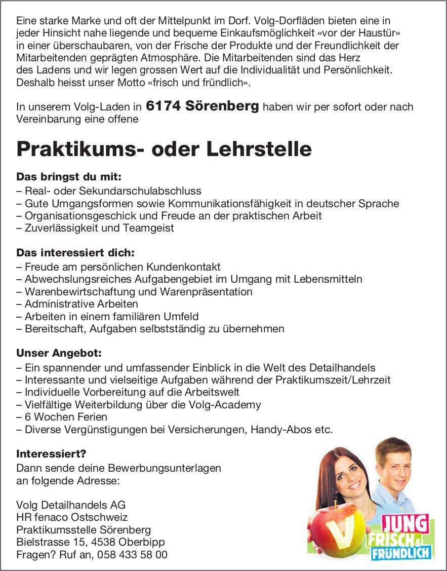 Praktikums- oder Lehrstelle, Volg Detailhandels AG, Sörenberg, zu vergeben