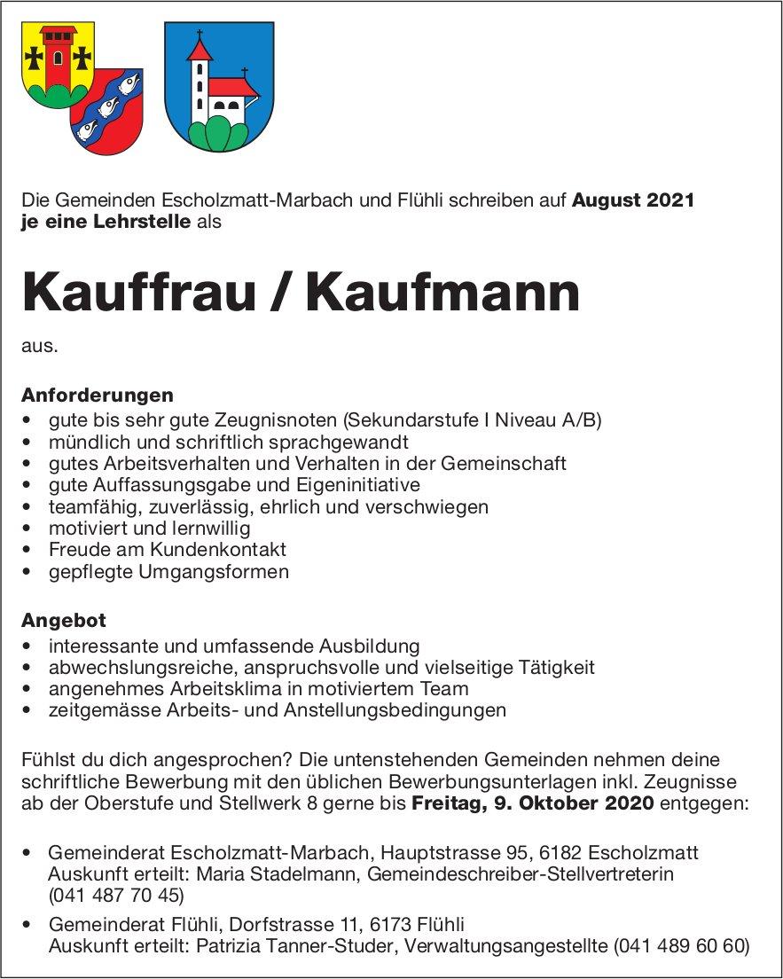 Lehrstellen als Kauffrau/Kaufmann, Gemeinden, Escholzmatt-Marbach & Flühli, zu vergeben