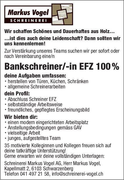 Bankschreiner/-in EFZ 100%, Schreinerei Markus Vogel AG, Schwarzenberg, gesucht