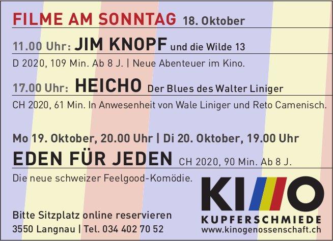 Kinoprogramm, Kinogenossenschaft Kupferschmiede, 18. - 20. Oktober, Langnau
