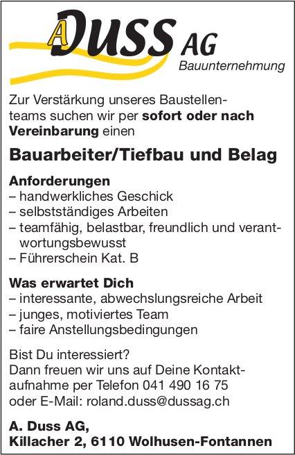 Bauarbeiter/Tiefbau und Belag, A. Duss AG, Wolhusen, gesucht