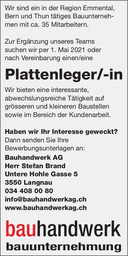 Plattenleger/-in, Bauhandwerk AG, Langnau, gesucht