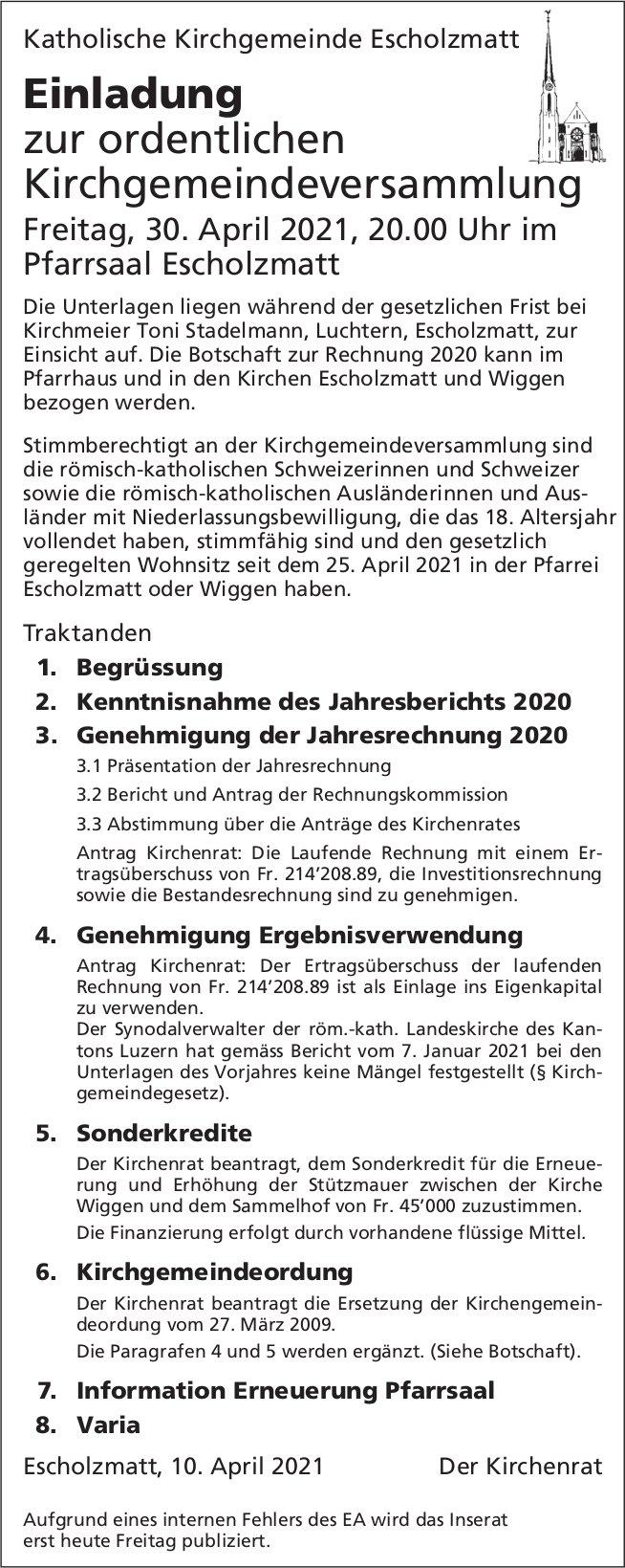 Ordentliche Kirchgemeindeversammlung, 30. April, Pfarrsaal, Escholzmatt