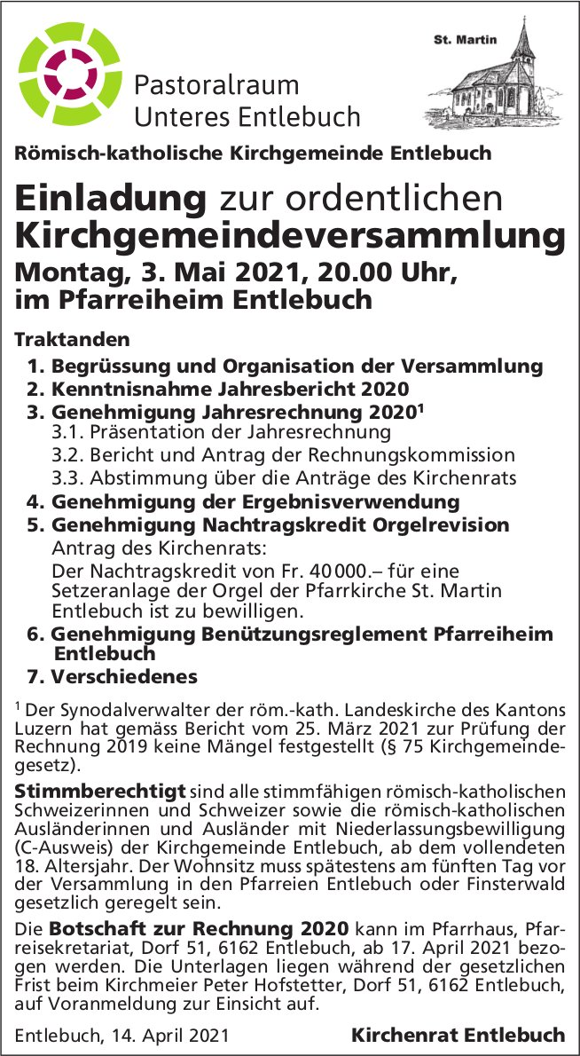 Ordentliche Kirchgemeindeversammlung, 3. Mai, Pfarreiheim, Entlebuch