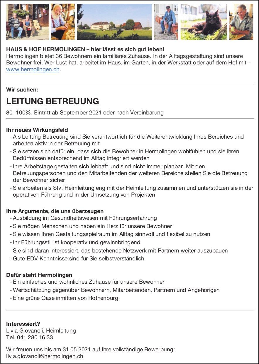 Leitung Betreuung, Haus & Hof Hermolingen, Rothenburg, gesucht