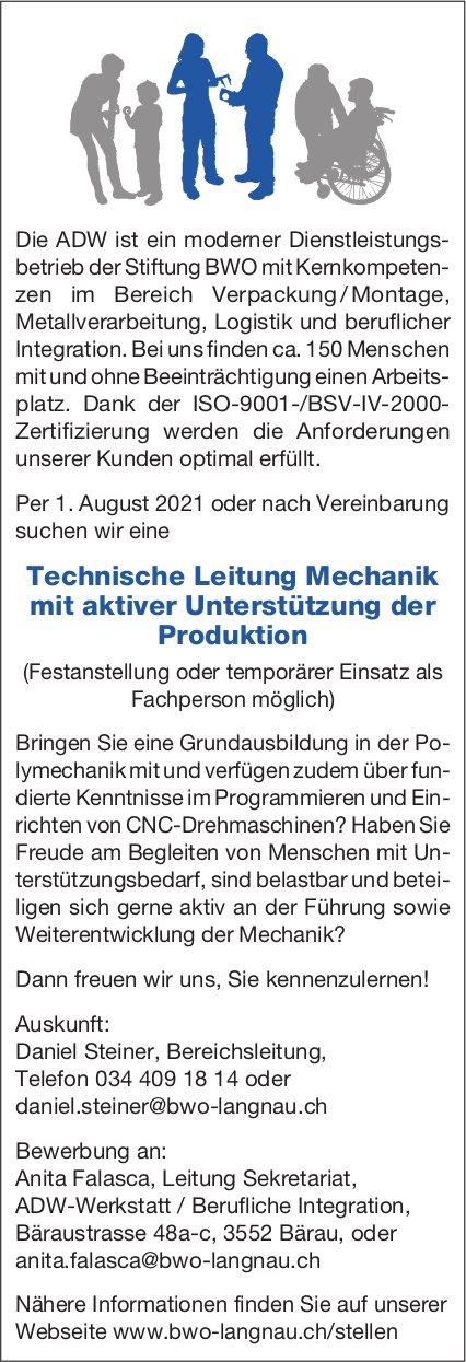 Technische Leitung Mechanik mit aktiver Unterstützung der Produktion, ADW-Werkstatt/Berufliche Integration, Bärau, gesucht
