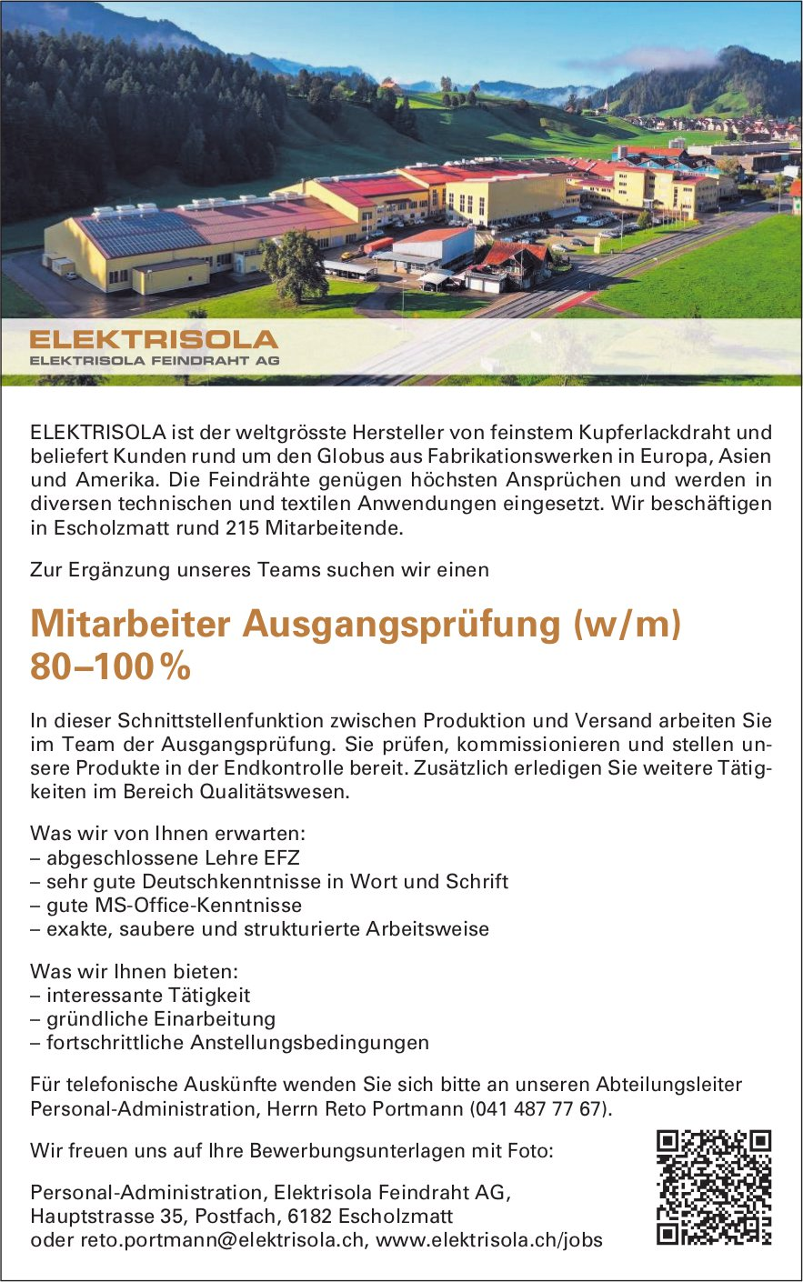 Mitarbeiter Ausgangsprüfung (w/m) 80–100%, Elektrisola Feindraht AG, Escholzmatt, gesucht
