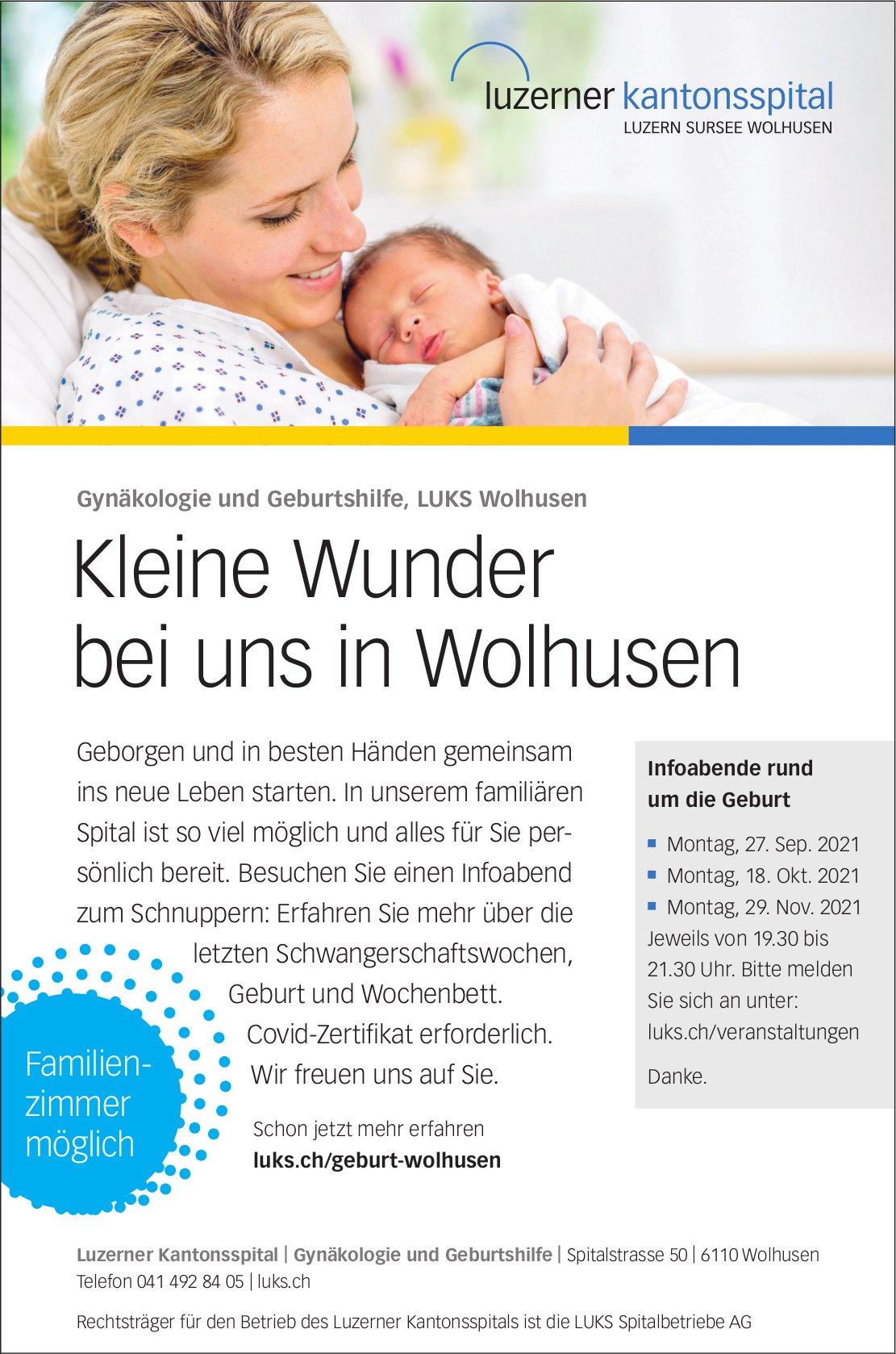 Infoabende: Kleine Wunder bei uns in Wolhusen, 27. September, 18. Oktober, 29. November, LUKS Wolhusen