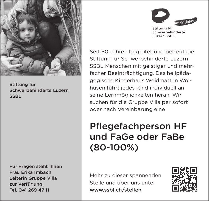 Pflegefachperson HF und FaGe oder FaBe (80-100%), SSBL Stiftung für Schwerbehinderte, Luzern, gesucht