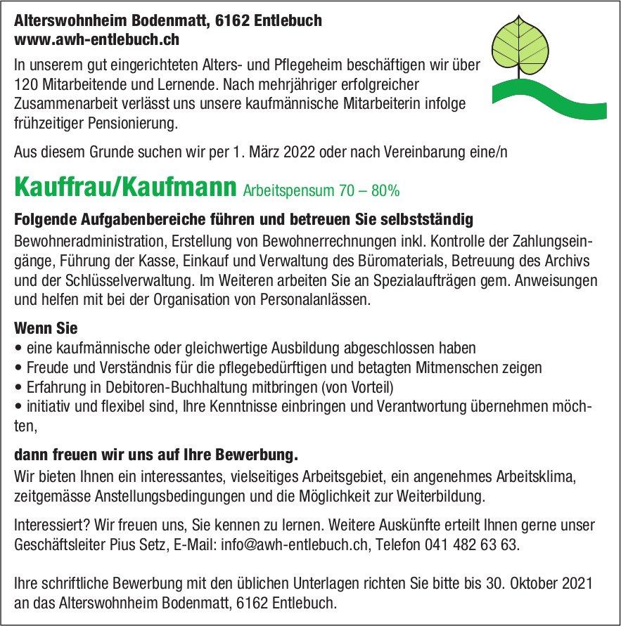 Kauffrau/Kaufmann 70–80%, Alterswohnheim Bodenmatt, Entlebuch, gesucht
