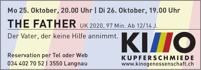 Kinoprogramm, 25. / 26. Oktober, Kino Kupferschmiede, Langnau