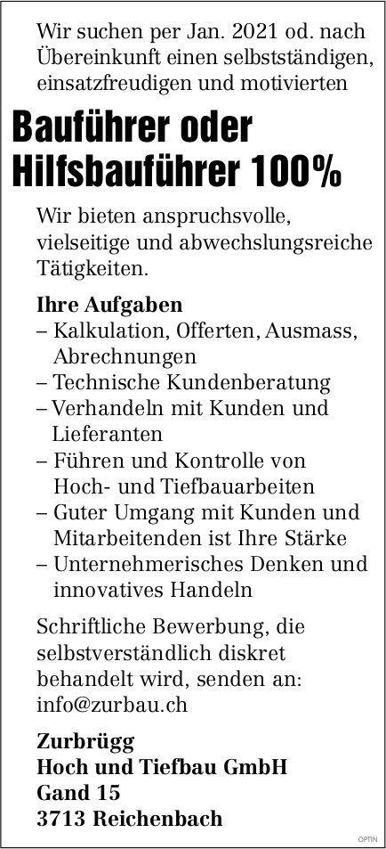Bauführer oder Hilfsbauführer 100%, Zurbrügg Tiefbau GmbH, Reichenbach, gesucht