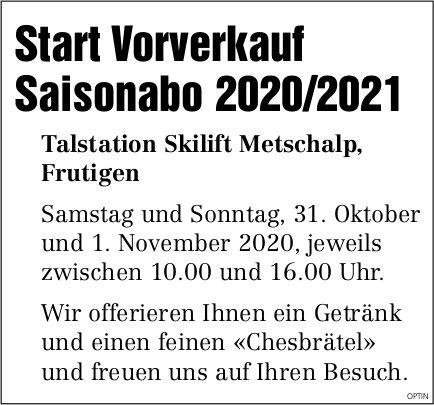 Start Vorverkauf Saisonabo 2020/2021, 1. November, Talstation Skilift Metschalp, Frutigen