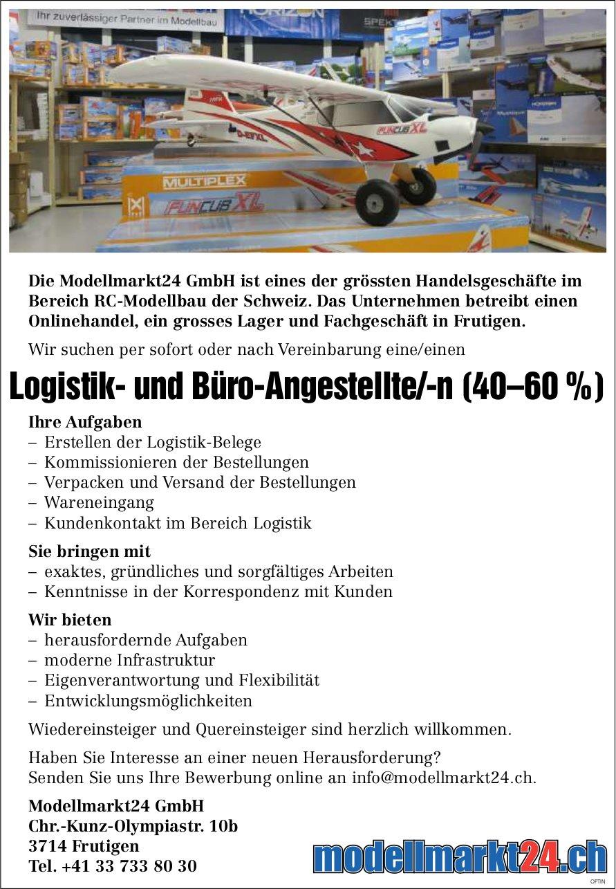 Logistik- und Büro-Angestellte/-n (40–60 %), Modellmarkt 24 GmbH, Frutigen, gesucht