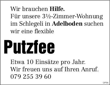 Putzfee, Adelboden, gesucht