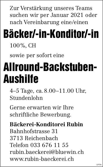 Bäcker-Konditor/-in und Allround-Backstuben-Aushilfe, Rubin Baeckerei, Reichenbach, gesucht