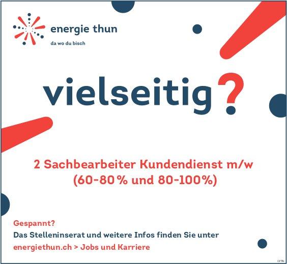 2 Sachbearbeiter Kundendienst m/w (60-80 % und 80-100%), Energie Thun, gesucht