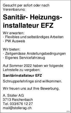 Sanitär- Heizungsinstallateur EFZ, A. Stoller AG, Reichenbach, gesucht