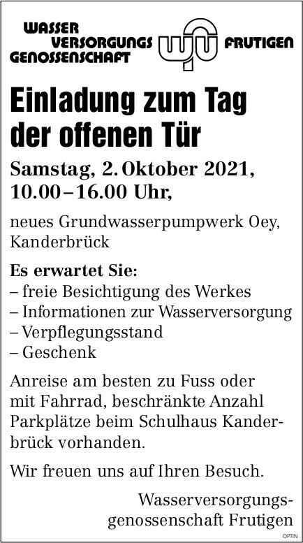Tag der offenen Tür, 2. Oktober, Grundwasserpumpwerk Oey, Kanderbrück