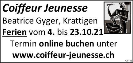 Coiffeur Jeunesse, Krattigen - Ferien, 4. bis 23. Oktober