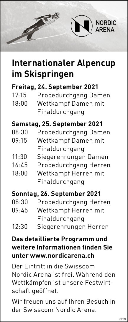 Internationaler Alpencup im Skispringen, 24. bis 26. September, Nordic Arena