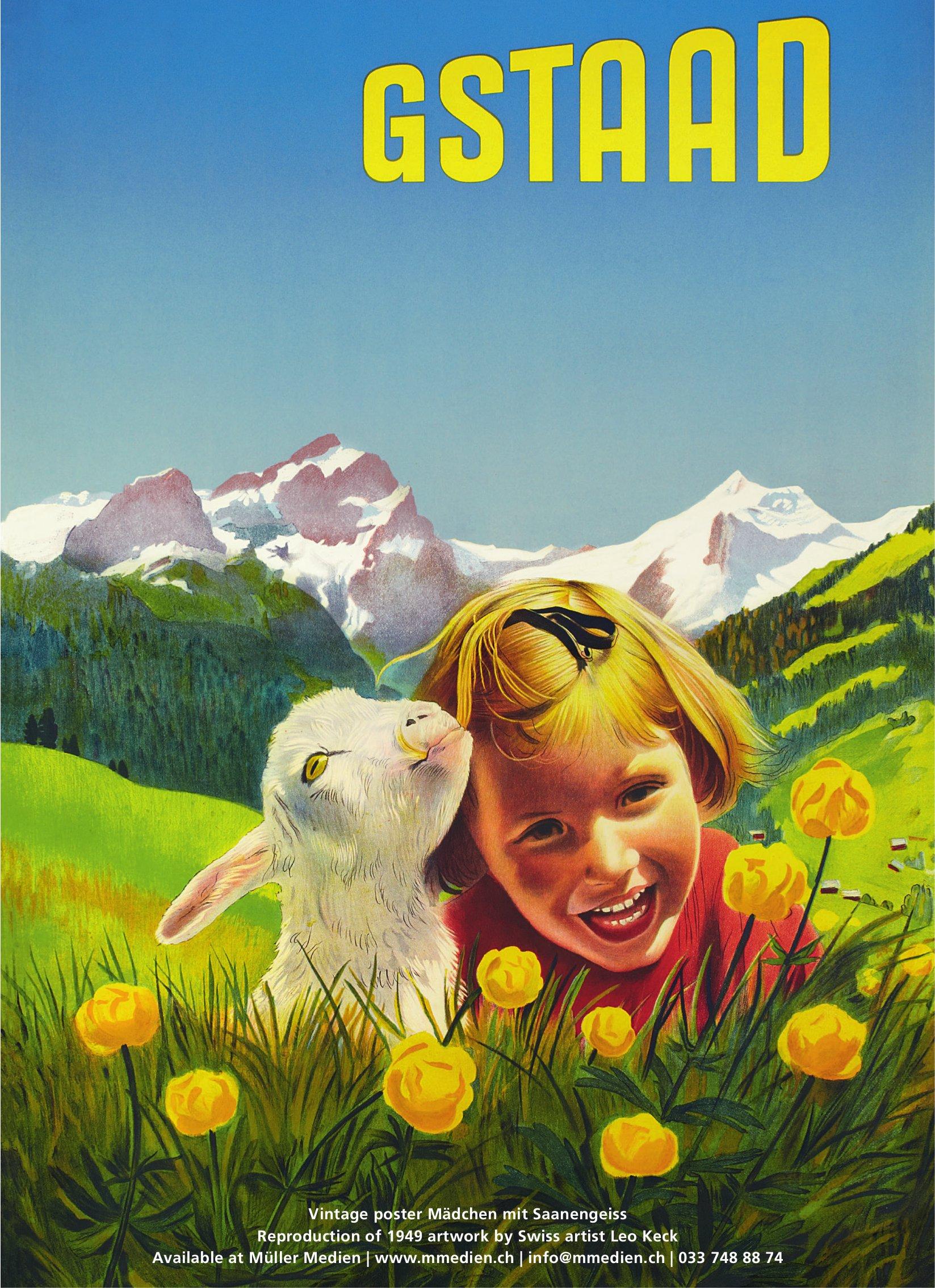 Gstaad - Vintage poster Mädchen mit Saanengeiss