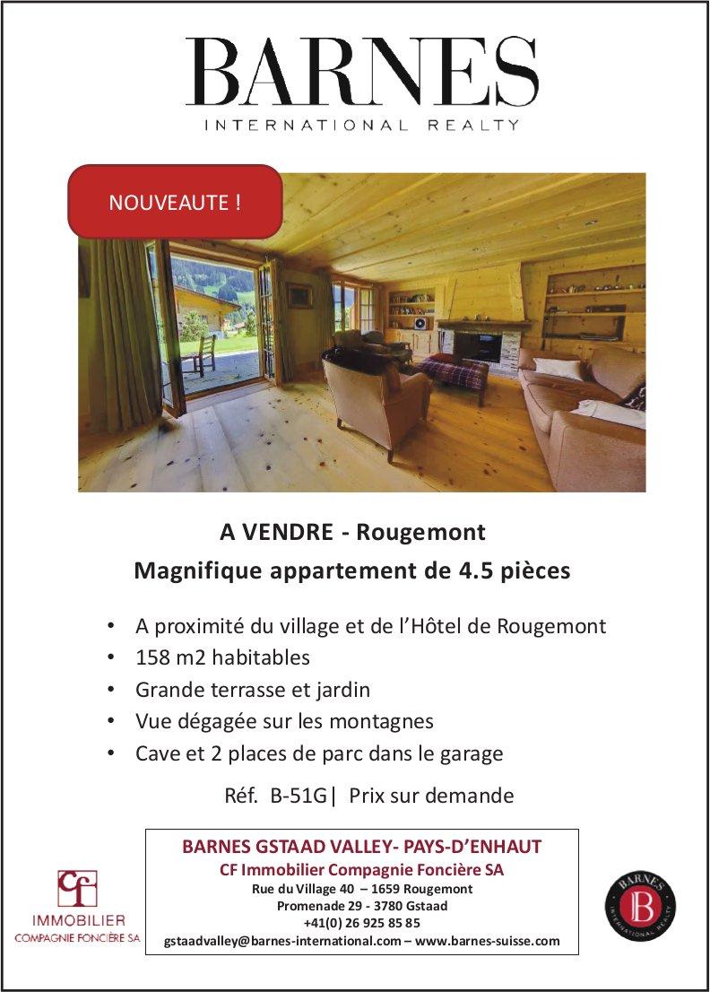 Appartement, 4.5 pièces, Rougemont, à vendre