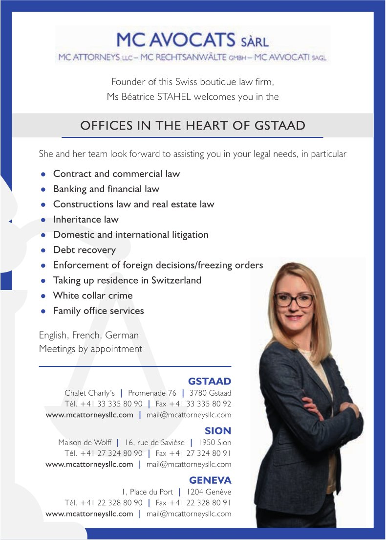 Mc Avocats Sàrl, Gstaad, Sion, Geneva - Offices in the Heart of Gstaad