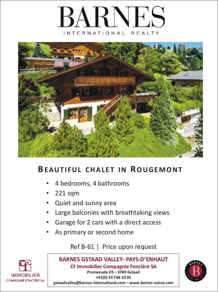 Beautiful Chalet, Gstaad, for sale