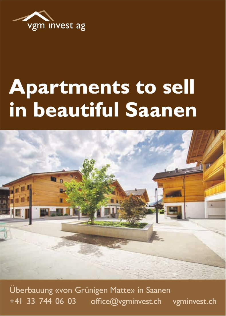 Apartments to sell in beautiful Saanen