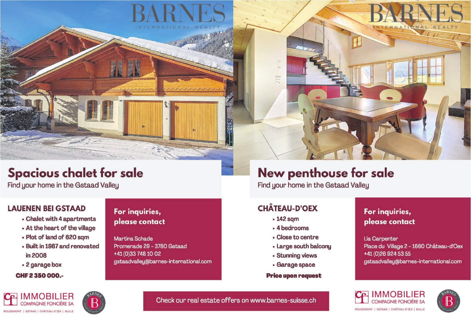 Chalet with 4 apartments & penthouse with 4 bedrooms, Lauenen & Château-d'Oex, for sale