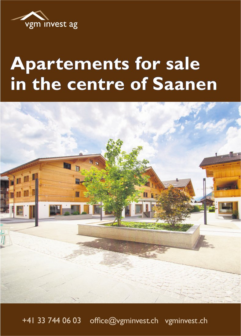 Apartements for sale in the centre of Saanen