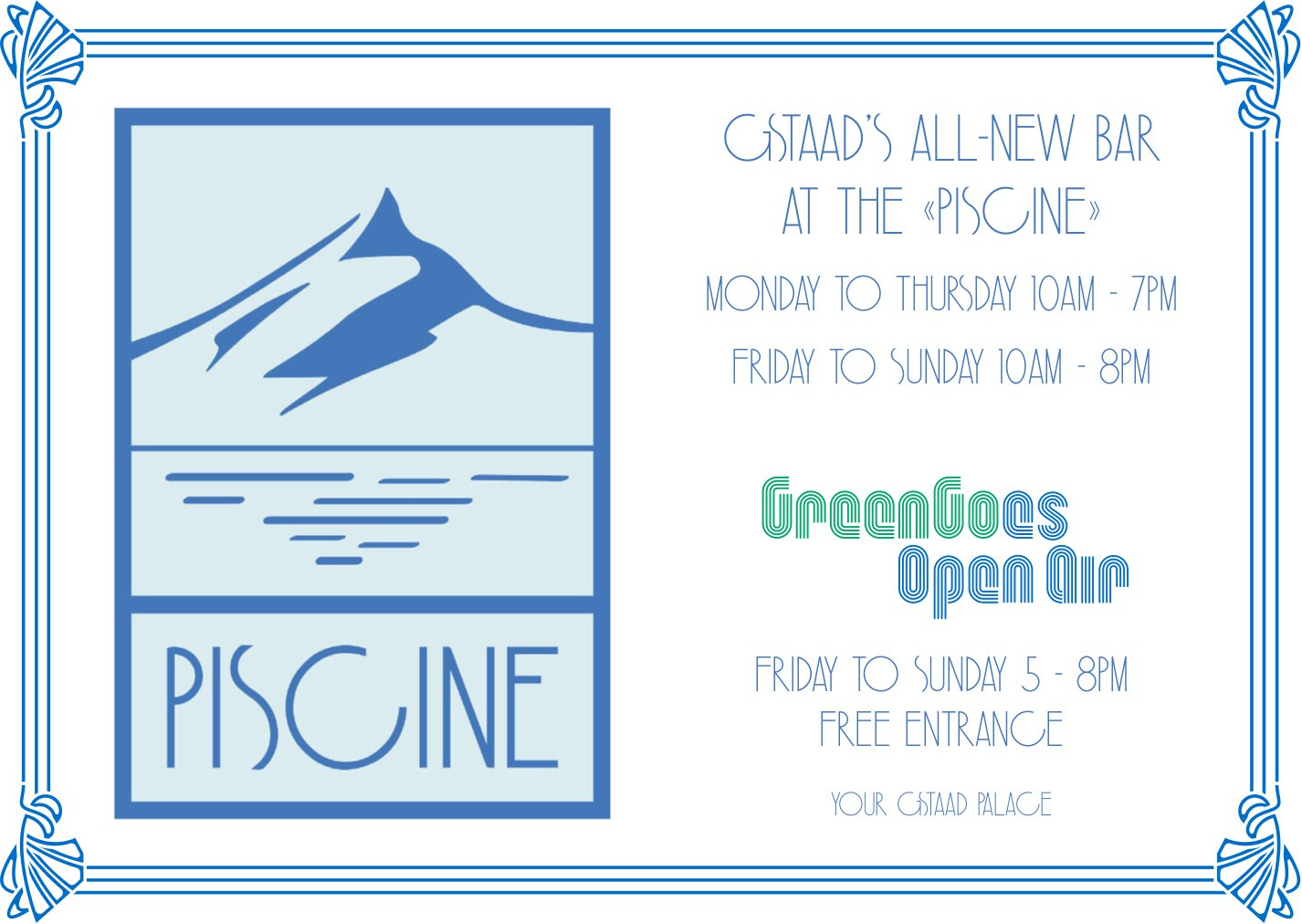 Green Goes Open Air, Gstaad - Gstaad's all-new Bar at the «Piscine»