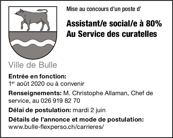Assistant/e social/e à 80% Au Service des curatelles, Ville de Bulle, recherché