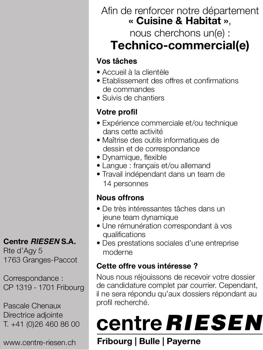 Technico-commercial(e), Centre Riesen SA, Granges Paccot, recherché