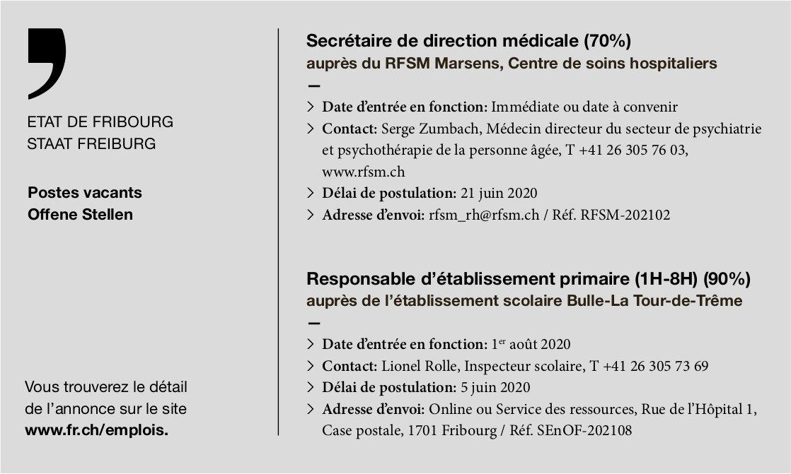 Secrétaire de direction médicale (70%) RFSM Marsens, recherché
