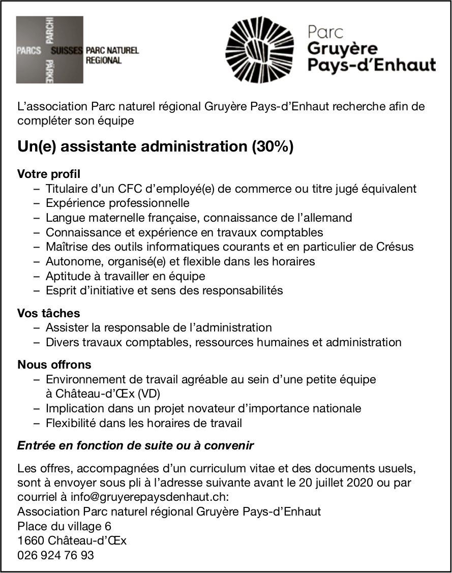 Un(e) assistante administration (30%), Parc Naturel Regional Gruyère, Château d'OEx,  recherché