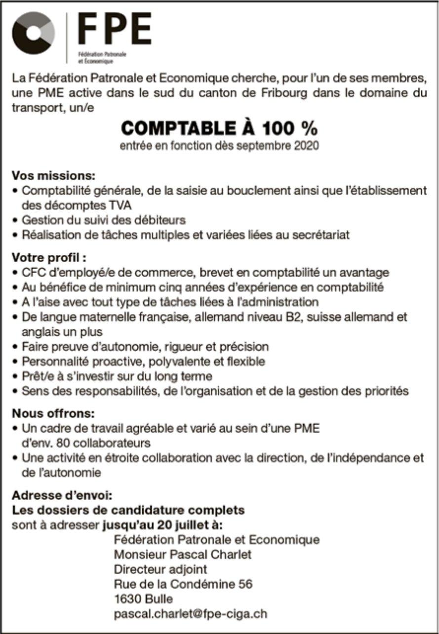 Comptable à 100 %, La Fédération Patronale et Economique, Fribourg, recherché