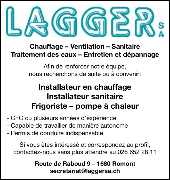 Installateur en chauffage, Lagger SA, Romont, recherché