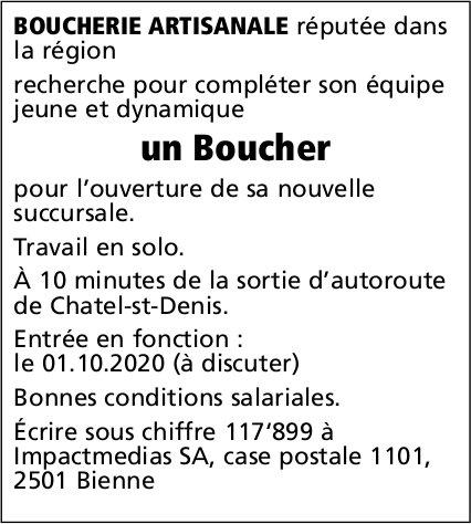 Un Boucher, Boucherie artisanale, Châtel-St-Denis, recherché