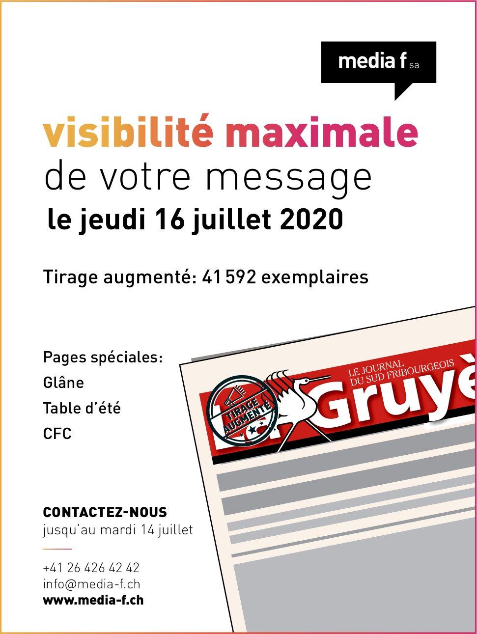 Media f SA - visibilité de votre message le jeudi 16 juillet 2020 tirage augmenté
